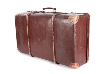 Valigia marrone isolato su sfondo bianco