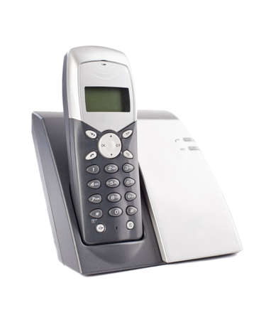 charger: Cordless phone set on white background Stock Photo