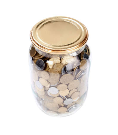copper coin: Coins in the jar on white background Stock Photo