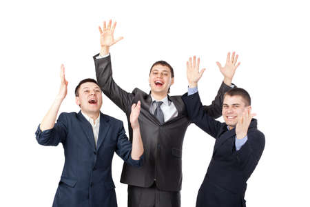 Successful young businesspeople raising hands isolated on white background photo