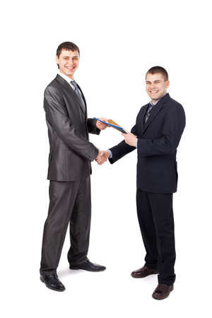 sales manager: Handshake of business partners, when signing documents isolated on white background