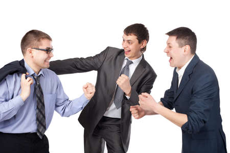 Successful young businesspeople gesturing with fists isolated on white background photo