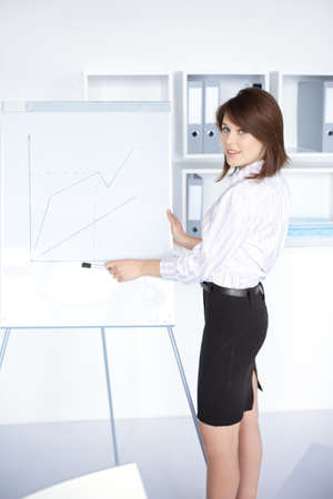 flip chart: pretty young business woman presentation on flipchart at office