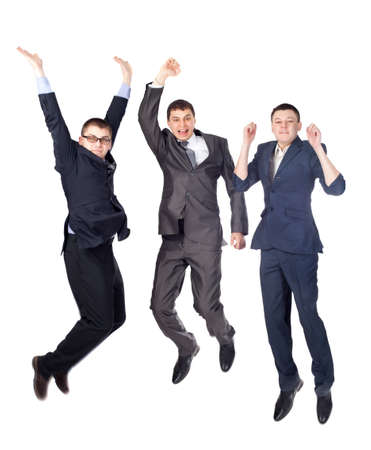 Three young  business men jumping isolated on white background  photo