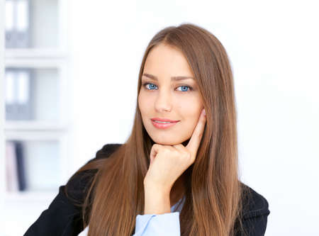 Closeup portrait of cute young business woman in office Stock Photo - 15919093