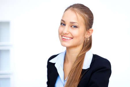 Closeup portrait of cute young business woman in office Stock Photo - 15896848