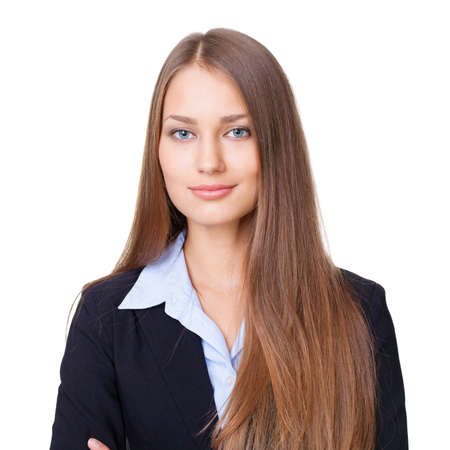 Closeup portrait of young successful businesswoman isolated on white background Stock Photo - 15896859