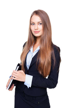 Portrait of young business woman with folder isolated on white background photo