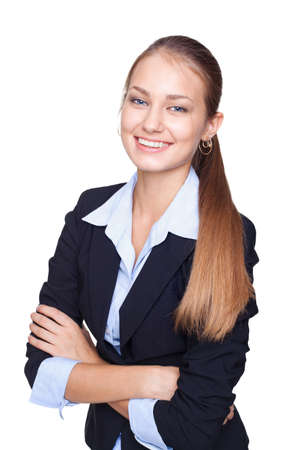Portrait of young smiling businesswoman standing with hands folded against isolated on white background Stock Photo - 15919180