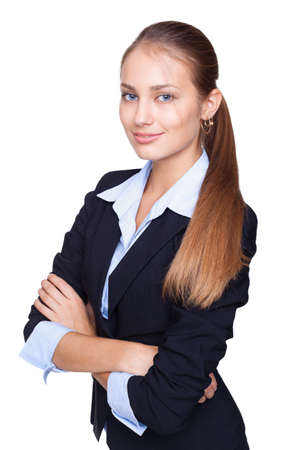 Portrait of young smiling businesswoman standing with hands folded against isolated on white background Stock Photo - 15919130