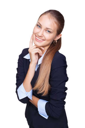 Portrait of young smiling businesswoman touching her face  isolated on white background Stock Photo - 15919105