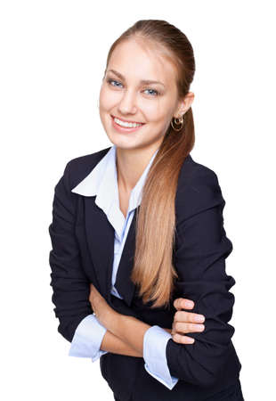 Portrait of young smiling businesswoman standing with hands folded against isolated on white background Stock Photo - 15919196