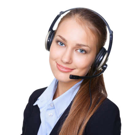 Closeup portrait of young female call centre employee with a headset on white background Stock Photo