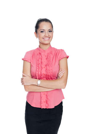 1 woman only: beautiful young smiling business woman standing with hands folded against isolated on white background
