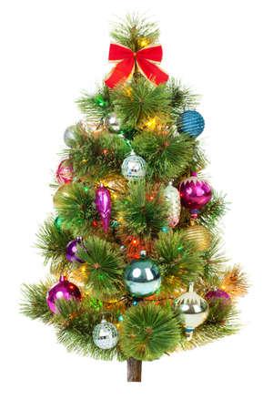 abeto: Árbol de Navidad de abeto aislado sobre fondo blanco Foto de archivo