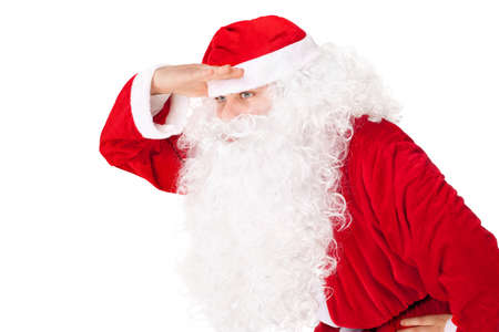 far away look: Portrait of Santa Claus look far away hold hand at head isolated on white background