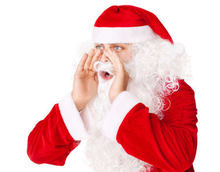 Santa Claus loud screaming calling out to someone isolated on white background Stock Photo - 16620999