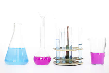 reagents: Chemical flasks with reagents on the table