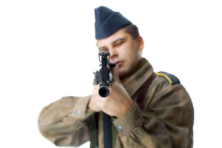 historical periods: Sniper second world war isolated on white background Stock Photo