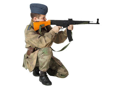 Soldier with submachine gun, second world war style  Isolated on white background photo