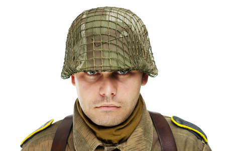 Close up portrait of soldier isolated on white background photo
