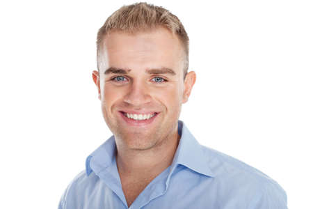 only man: Closeup portrait of happy smiling young businessman isolated on white background