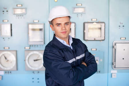 Portrait of young engineer at control room Stock Photo - 18353755