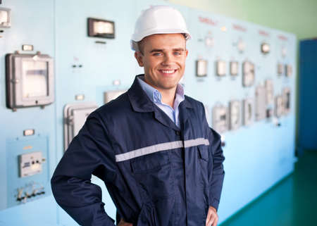 Portrait of young engineer at control room Stock Photo