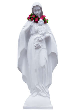 child praying: The statue of Virgin Mary and Jesus boy isolated on white background Stock Photo