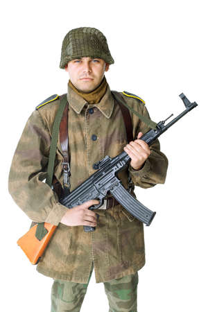 vintage military rifle: soldier with submachine gun isolated on white background Stock Photo