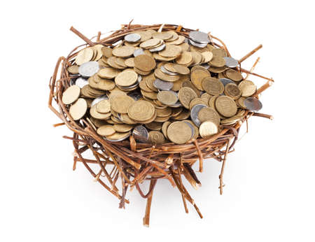 Nest full of coins isolated on white background photo