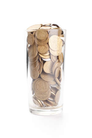 kopek: Coins in a glass cup isolated on white background