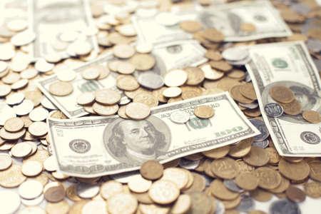 kopek: Dollar bank note with ukrainian coins, financial background  Stock Photo