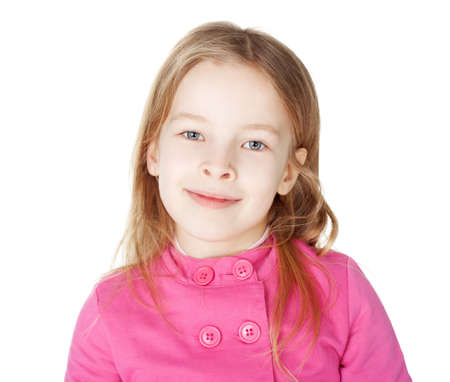 Portrait of little cute smiling girl isolated on white background photo