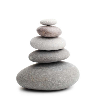 stack stone: Pyramid of the stones isolated on white background  Stock Photo
