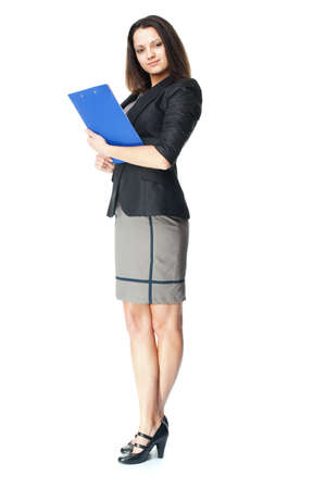 Full length portrait of beautiful young smiling businesswoman holding clipboard isolated on white background