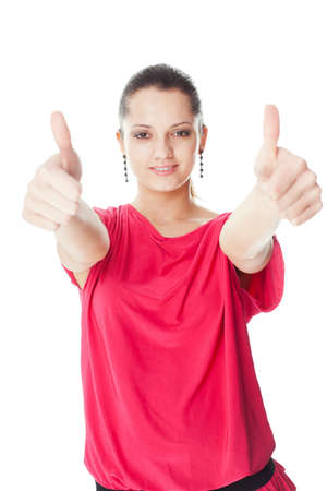 Portrait of pretty young smiling woman in red dress showing thumbs up isolated on white background Stock Photo - 22003026