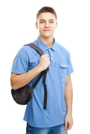 college boy: Portrait of happy smiling student with backpack isolated on white background Stock Photo