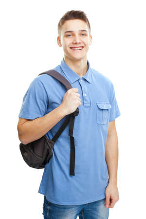 Portrait of happy smiling student with backpack isolated on white background photo