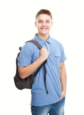 only one teenage boy: Portrait of happy smiling student with backpack isolated on white background Stock Photo