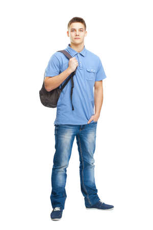 Full length portrait of happy smiling student with backpack isolated on white background photo
