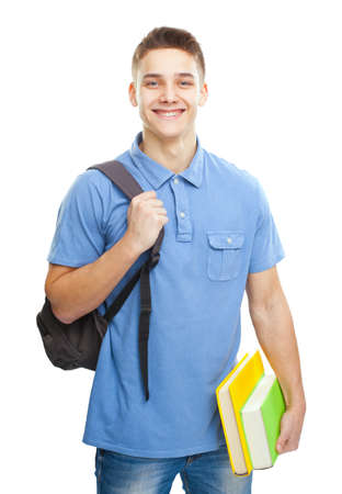 Portrait of happy smiling student with books and backpack isolated on white background photo