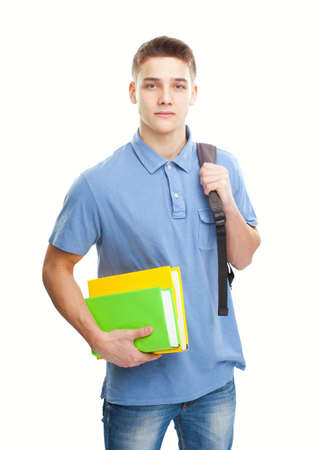 Portrait of student with books and backpack isolated on white background photo