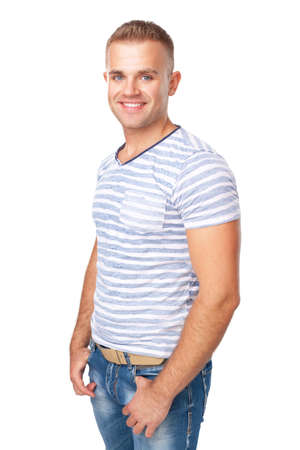 Portrait of happy smiling young man isolated on white background Stock Photo - 22003602