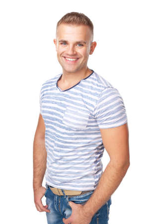 Portrait of happy smiling young man isolated on white background Stock Photo - 22003603
