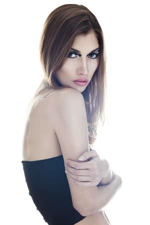 sensual very beautiful woman on white background  Soft light Stock Photo - 22003727