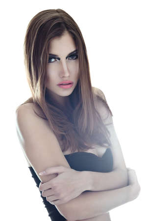 sensual very beautiful woman on white background  Soft light Stock Photo - 22003728