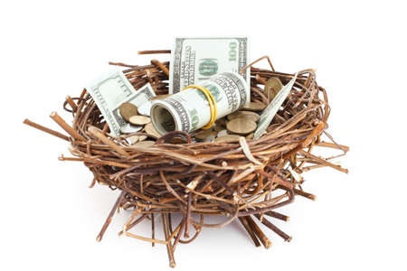 retirement nest egg: Dollar bills and coins in a birds nest isolated on white background