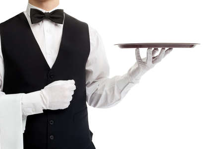 waiter tray: Waiter torso with empty tray isolated on white background