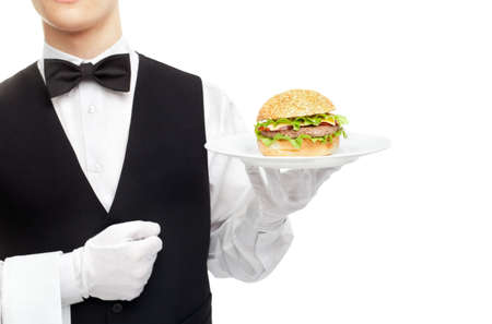 Waiter torso with hamburger on plate isolated on white background photo
